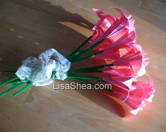 Bouquet of 12 Pink Origami Flowers