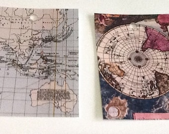 8 Vintage World Maps Gift/Thank You Tags