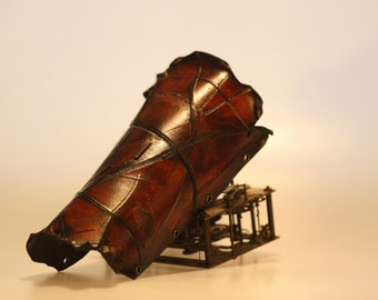 steampunk leather bracer, distressed (made to order)