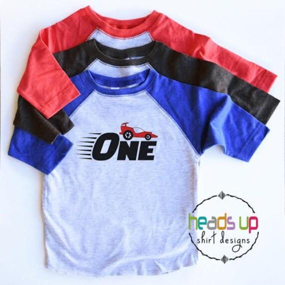 First Birthday Racecar Shirt Raglan One Bday Bodysuit Baby