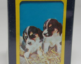Vintage Beagle puppy playing cards, Astor playing cards, vintage puppy deck of cards