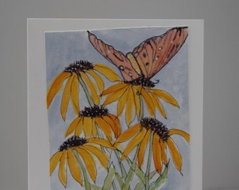 Butterfly with Coneflowers on a 4 X 6 card