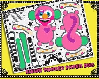 Clown Monkey - DIY Paper Doll