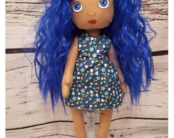 Betty - Handmade doll with removeable dress and wavy blue hair