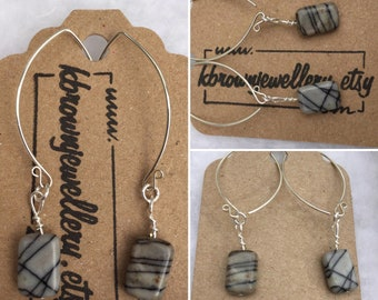 Jasper Wishbone Earrings, Handmade Gemstone Earrings, Sterling Silver Gemstone Earrings, Jasper Earrings, Grey Gemstone Earrings, K Brown
