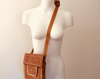 Vintage Leather Purse, Bohemian, Morroccan Berber Bag, Embroidered Leather, Leatherwork, Berber Folk Art, Turkish Handbag, Brown Leather