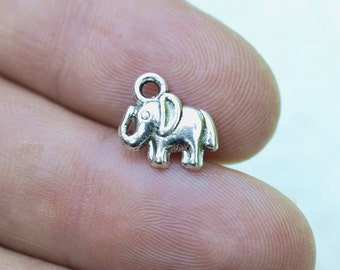 15 Tiny Elephant #CH273 Antique Silver Charms-Elephant Jewelry Charms-Antique Silver Jewelry Supplies-Alloy Metal Loose Charms-Findings
