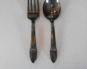 Vintage Silver-Plated Children/Toddler Fork and Spoon Silverware Set
