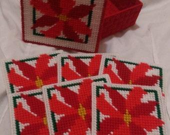 Poinsettia coasters- set of six