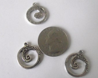 Round Spiral Components 3 piece set Silver Plate Component Destash