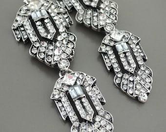 Vintage Jewelry - Art Deco Inspired Earrings - Crystal Earrings - Silver Earrings - Bridal Earrings - Wedding Earrings - handmade jewelry