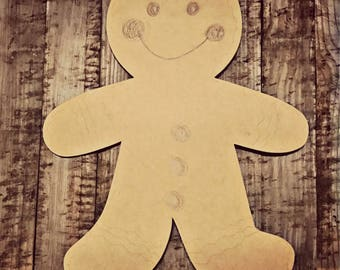 Unfinished, Ginger, Bread, Man, Christmas, Holiday, Ready to Paint, Door, Hanger, Decor, DIY, Blank, Cut Out,