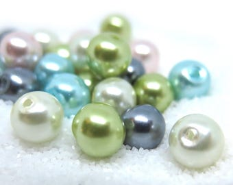 50 Pcs - Assorted Pastel Color Glass Pearl Beads - 8mm in diameter, hole: 1.5mm