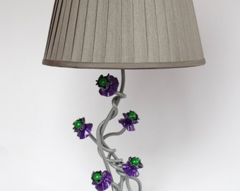 Metal table lamp, abstract, flowers