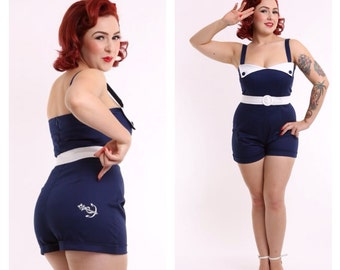 HELLO BUOYS PLAYSUIT - Navy - On Sale !!! Romper 50s Pinup -Powderpuff Boutique