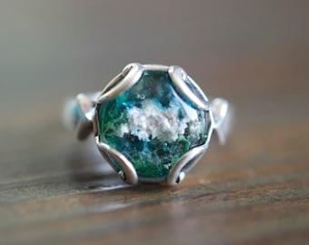 Round Sterling Silver Glass Cremation Memorial Ring