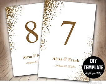 Table Cards Wedding, Wedding Table Cards, Wedding Table Numbers in Gold, Confetti Wedding, Gold Table Cards