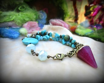 Bracelet, Turquoise, Shabby Chic, Accessories, Beaded, Handmade