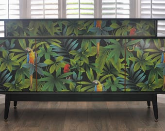 SOLD SOLD Upcycled Mid Century Vintage Retro G Plan E Gomme Sideboard in Tropical Parrot Decoupage
