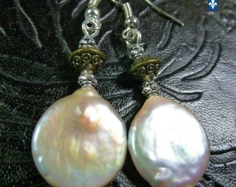 Beautiful Baroque Cultured White Pearl Coin Plated Silver & Bronze Earrings