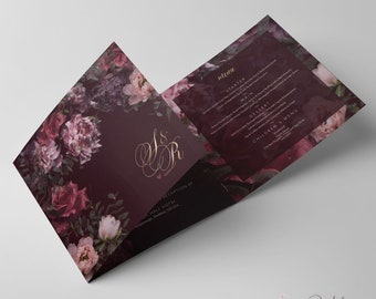 Burgundy floral marsala invites peonies roses with gold. Flower design invite. Custom bespoke personalised day & evening stationery.
