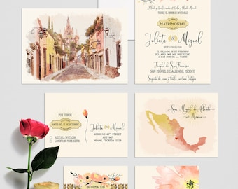 Mexico San Miguel de Allende Destination wedding invitation Traditional Spanish Mexican illustrated floral terracotta orange Deposit Payment