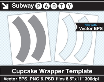 """Cupcake Wrapper Template. Vector EPS, Photoshop Layered Psd, Transparent Png Files 8.5""""x11"""". Diy Party Printable. INSTANT DOWNLOAD"""