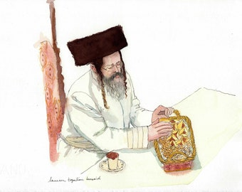 Original watercolor - Rabbi with hamatash-Rabbi painting -Jewish painting-Pourim-Jewish portrait