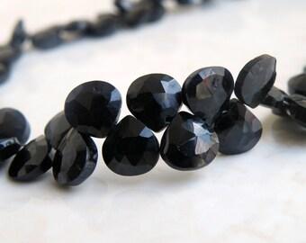 Black Spinel Gemstone Faceted Heart Briolette 8.5mm 27 beads 1/2 Strand