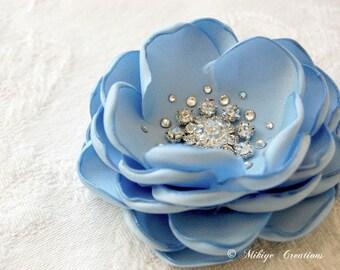 Wedding Hair Flower, Wedding Accessory, Bridesmaid Hair Flower,  Flower Girl Blue Hair Flower Head Piece -Petite Sky Blue Petals