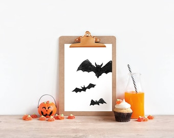Bat Print // Printable Halloween Art, Halloween Art Print, Bat Wall Art, Halloween Decor, Fall Home Decor, Halloween Wall Art, Bat Printable