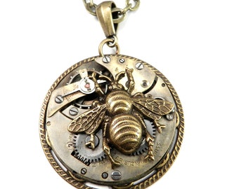 Steampunk Jewelry  - Large Statement Necklace - Victorian Honey Bee - Antique Pocket Watch Pendant, Steampunk Jewelry by compassrosedesign