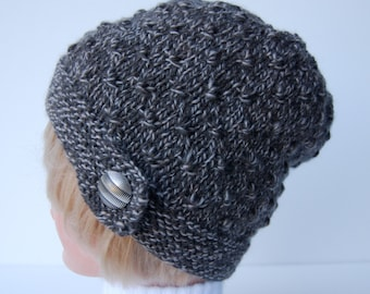 Hand knit womens hat with button, button brim hat, brown beanie, knit wool hat, knit brown hat, taupe hat, brown knit beanie, women's hat