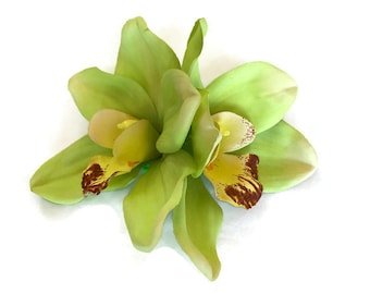 Double Green Orchid Hair Flower - Hawaiian Hair Clip - Pinup Flower - Rockabilly Flower - Tropical Hair Clip