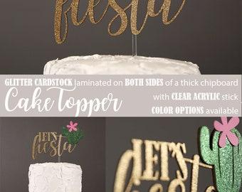 let's fiesta cake topper, cactus cake topper, Glitter party decorations, cursive topper