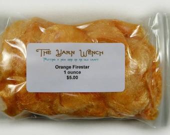 Orange Nylon Firestar for carding, spinning, felting - 1 ounce