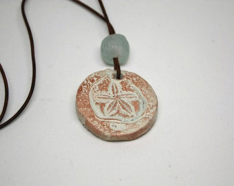 Beach Jewelry - Artisan Ceramic Sand Dollar Pendant with Recycled Glass Bead, Leather Cord Necklace, Beach Boho, Ceramic Pendant Necklace