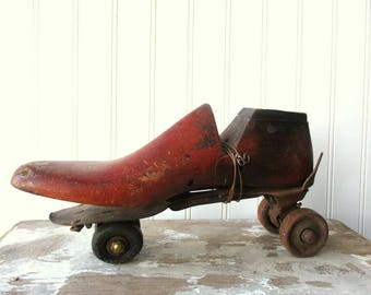 Vintage wooden shoe form cobblers last assemblage and rusty roller skate Shabby Rustic industrial Farmhouse N1