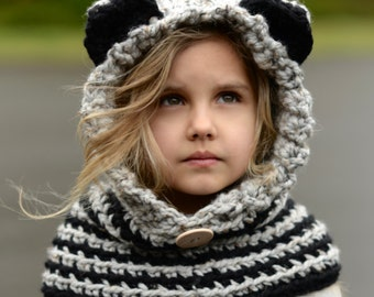 CROCHET PATTERN - Raydin Raccoon Hood (12/18 month,Toddler, Child, Adult sizes)