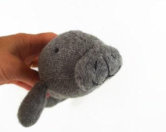 toy manatee, stuffed animal, stuffed toy, waldorf toy, woodland animal, child's toy, plush manatee, toy sea creature, toy fish