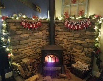 Christmas Banners with Ribbon Garland