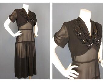 Vintage 1930s, 40s Black Semi Sheer Dress, Sequin Detail, Sz L / Art Deco, Period, Flapper Party / Little Black Dress