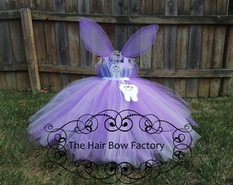 The Hair Bow Factory Tooth Fairy Inspired Light Purple and Purple Tutu Dress and Wings Size 12-24 Months to 14