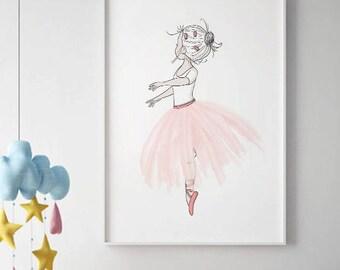 Ballerina Wall Art, SALE PRINT Girls Room Decor, Pink Tutu, Ballerina  Print, Baby Girl Nursery Wall Art,Ballerina Art,ballerina Dancer Print