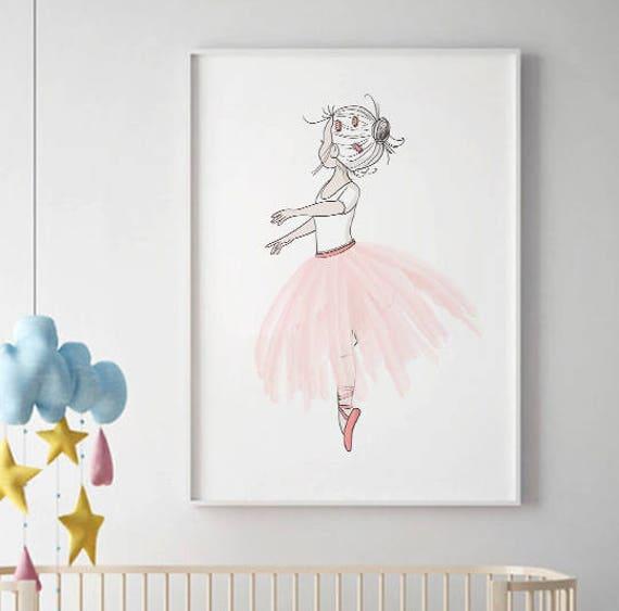 Ballerina wall art sale print girls room decor pink tutu for Ballerina wall mural
