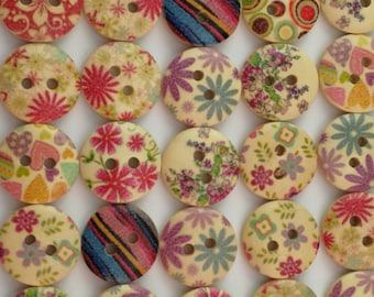 Quaint wooden sewing buttons, scrap booking, button bracelets, craft projects