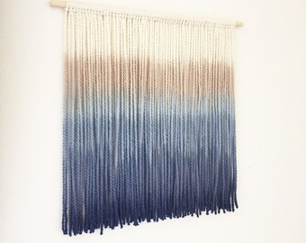 50 x 50cm made to order Blue Navy Ombre dip dye wall hanging