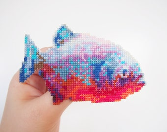 Piranha Cross Stitch Brooch