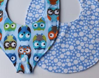 One of Each! 2 PK PacifierBib Owls, Round Baby Bib Bubbles, Baby Shower Gift Set, Baby Drool Bib, New Baby Bib, Baby Bib