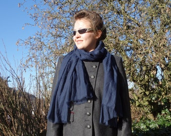 NAVY BLUE SCARF - long scarf - viscose scarf - womens accessories scarves - fashion - street style - soft cosy large oversize scarf pareo